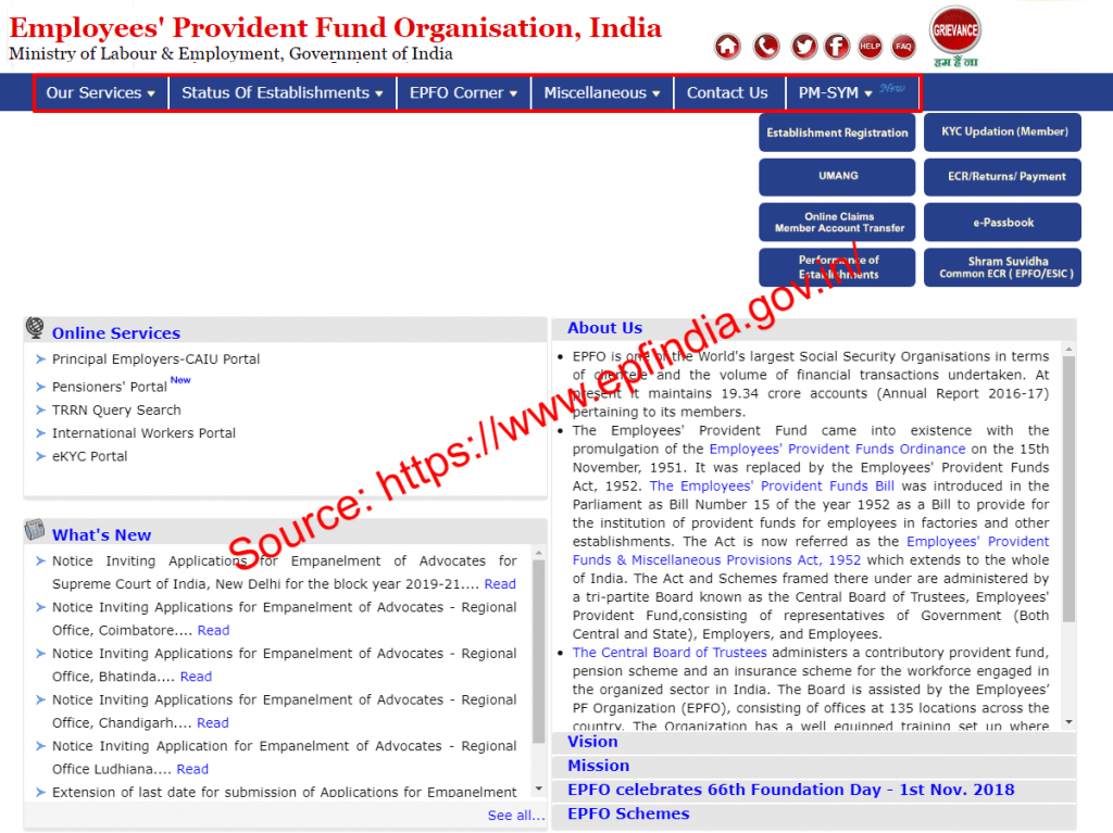epfindia website page